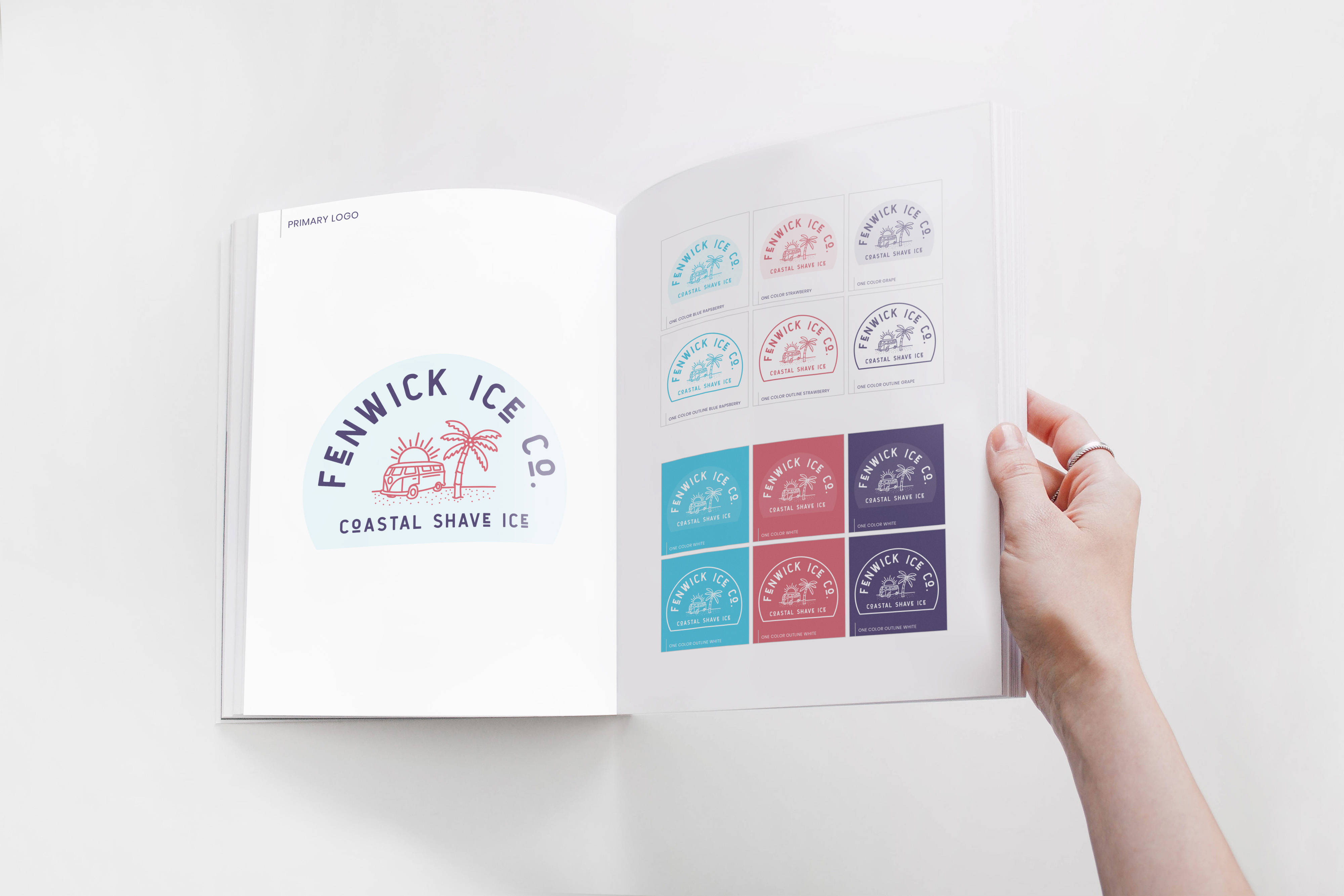 fenwick ice logo shown in full color and one color and white options in a brand book held open by a woman