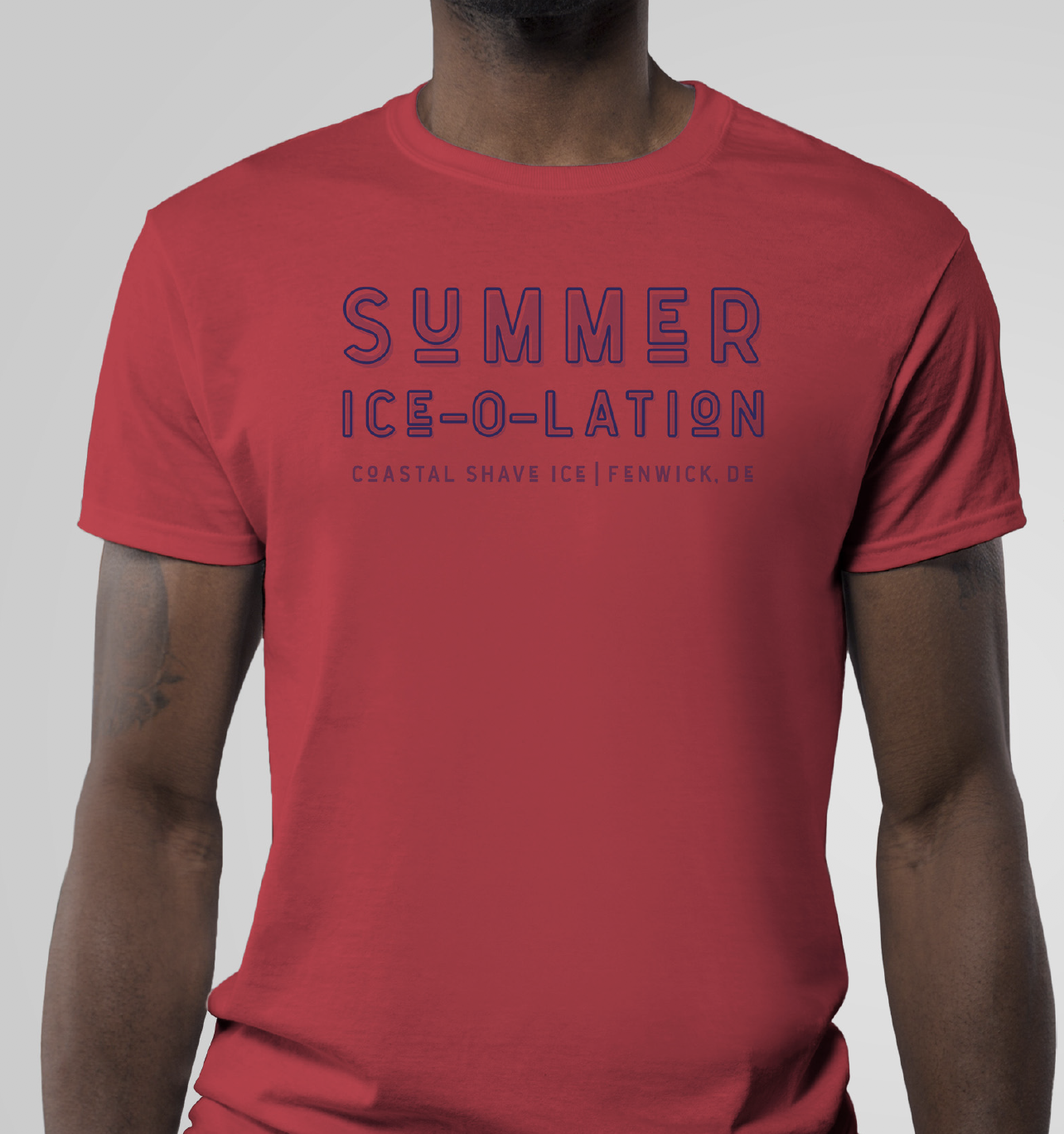 "summer ice-o-lation mocked up on the front of a tshirt with the tagline ""fenwick shave ice, fenwick,de"" displayed underneath"