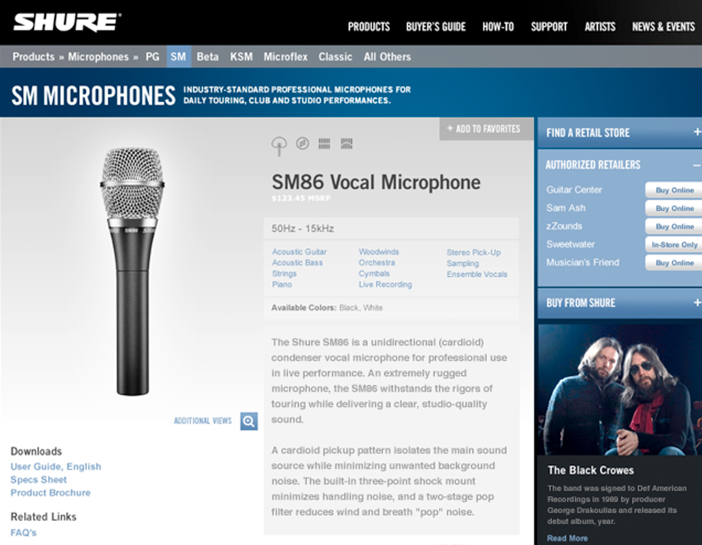 Shure product detail page