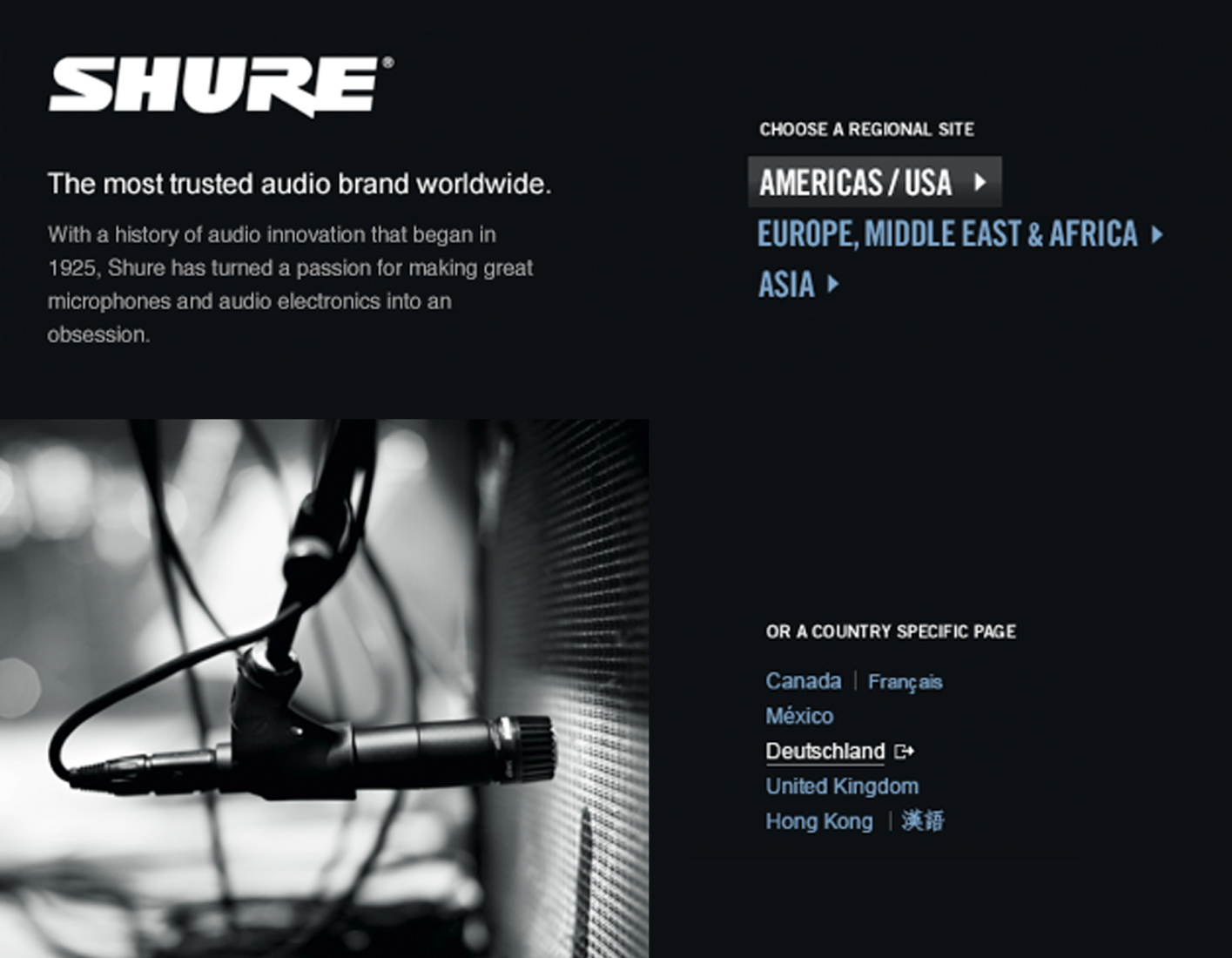 Shure log-in page