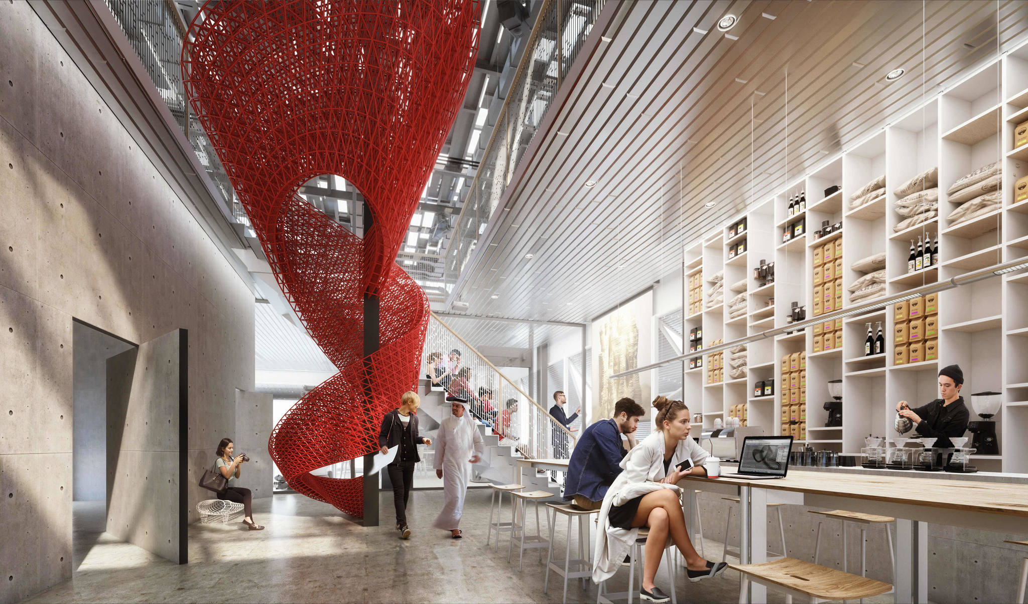 Interior Render Showing cafe View MEAL* DESIGN INNOVATION CAMPUS MEAN* Middle East Architecture Network