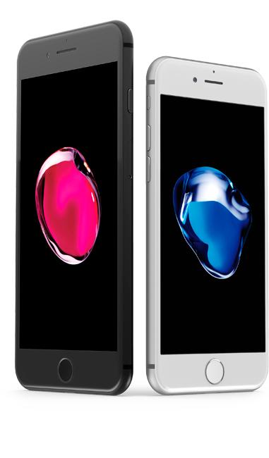 Detailnější záběr černého iPhonu 8 Plus a bílého iPhonu 8