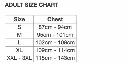 JOMA adult size chart