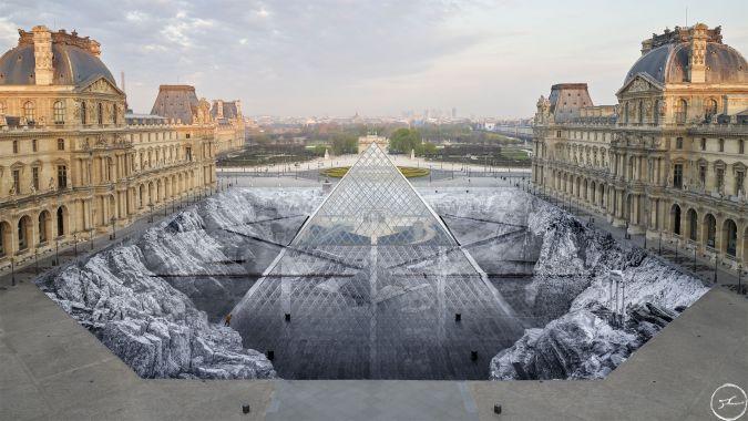 JR Louvre Paris art éphémère