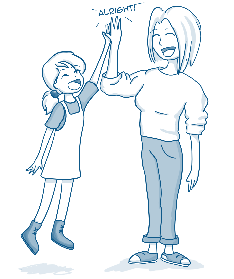 AImee giving high five to a lady