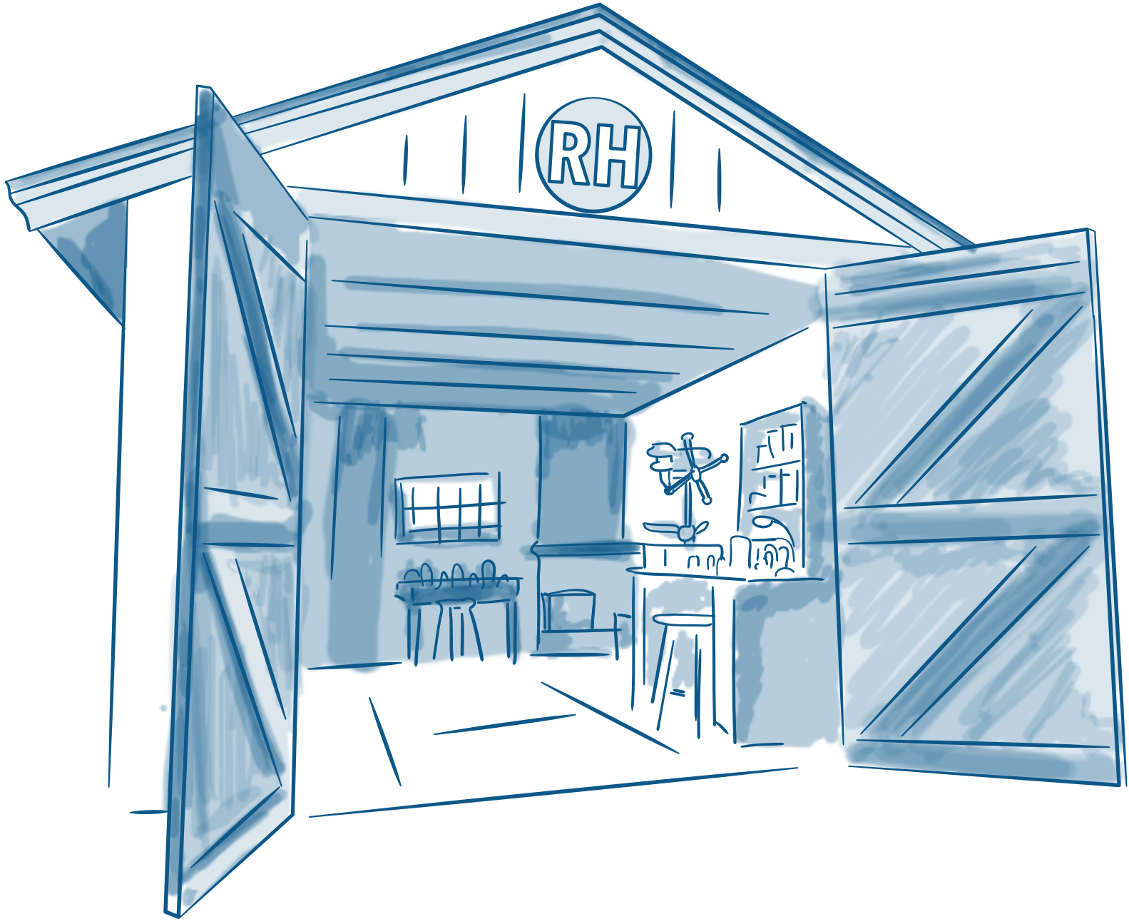 Illustration of a garage