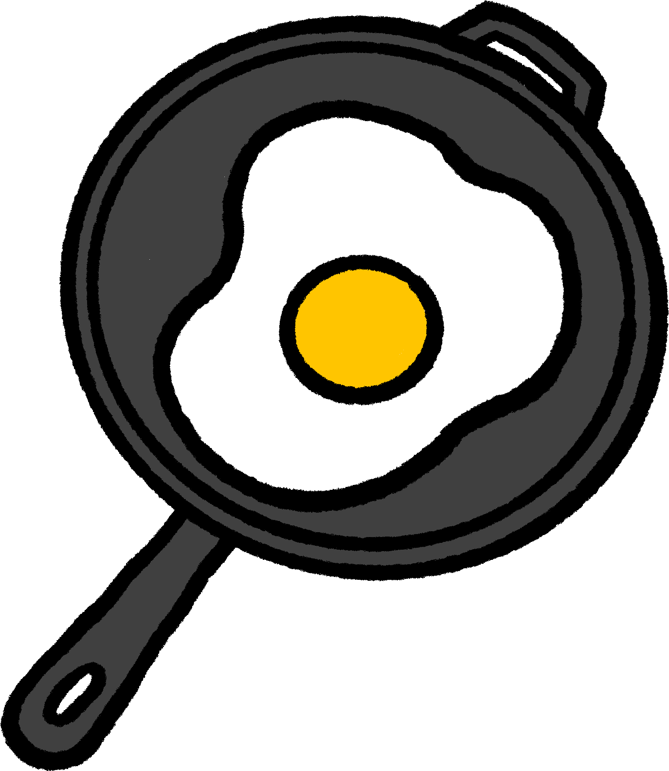 Illustration of a cast iron skillet frying an egg.