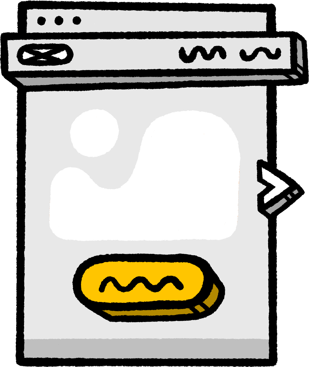 Illustration of a homepage banner with a button.