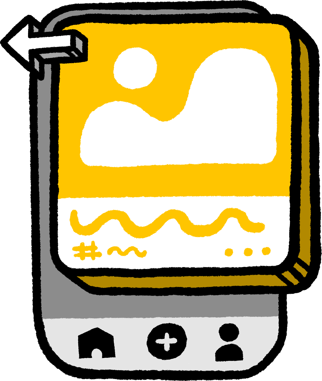 Illustration of an app with a card component.