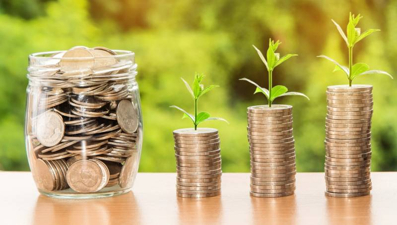 What is a fiduciary: Jar of coins next to stacks of coins with leaves budding out of them