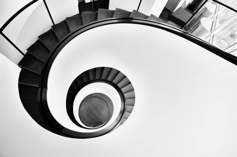 Rainy Day Fund: Aerial view of spiral staircase