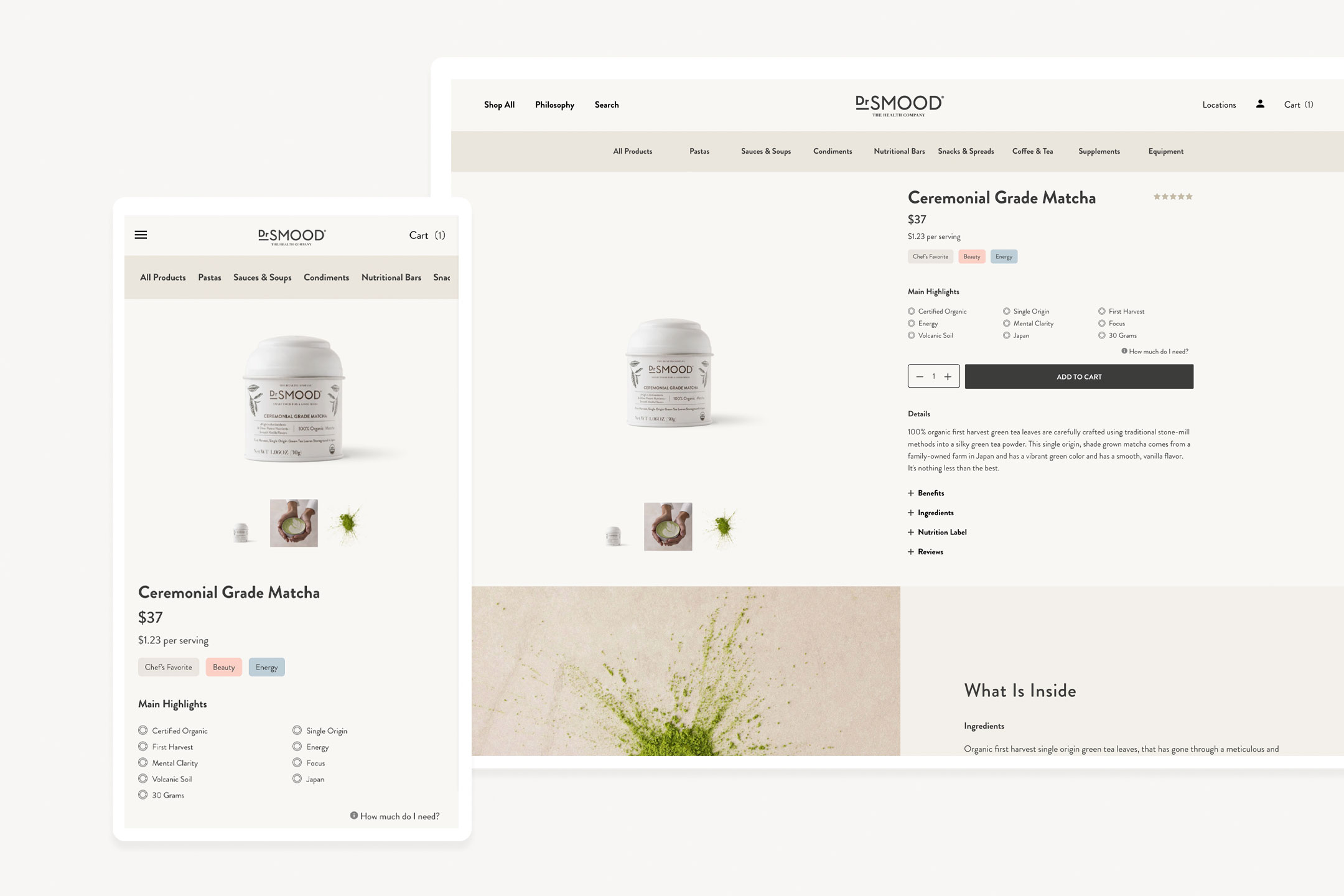 image of dr smood's product page for matcha