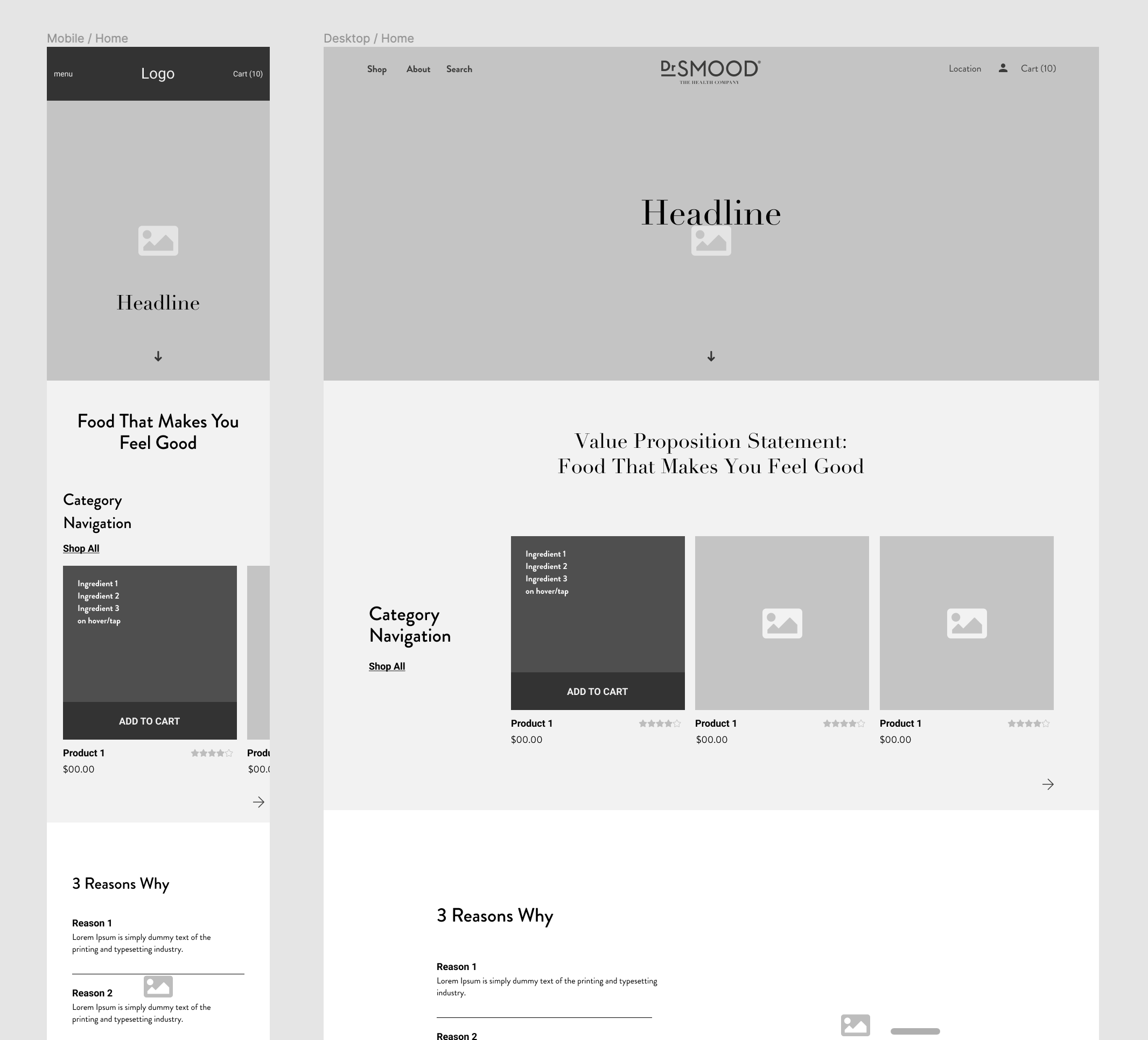 dr smood homepage wireframes