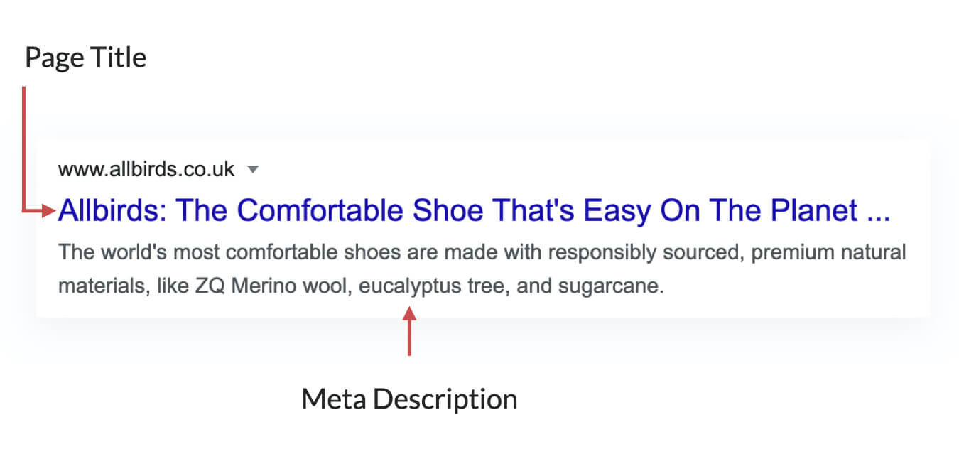 Example of page title and meta description on a Google result