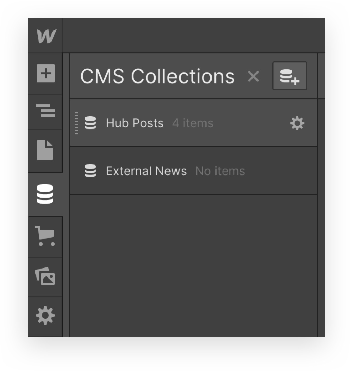 Example of current CMS collection called hub posts