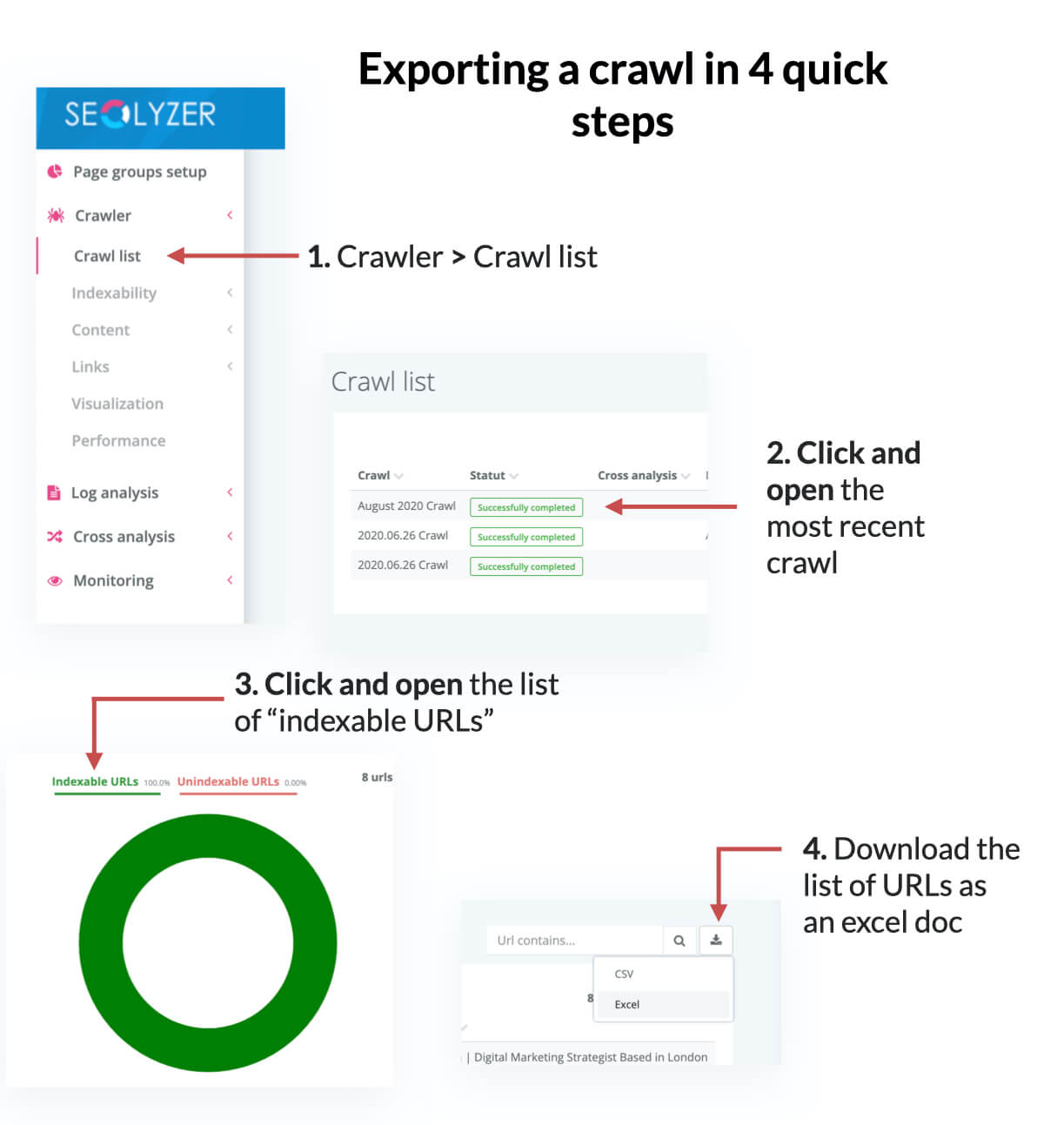4 step guide to exporting a crawl from SEOlyzer
