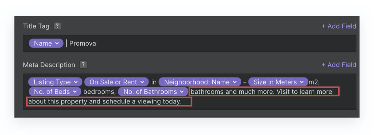 Example of how you can mix custom text and collection fields