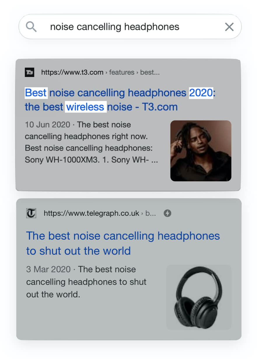 Example of Google search for the term noise cancelling headphones with product attributes