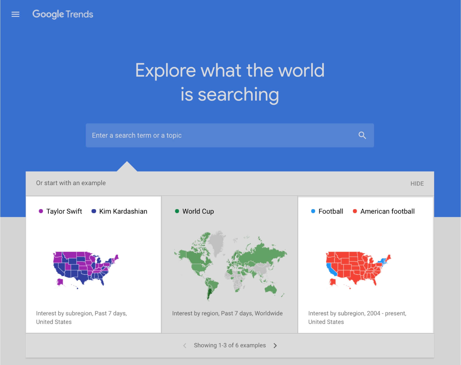Google Trends topic suggestion box
