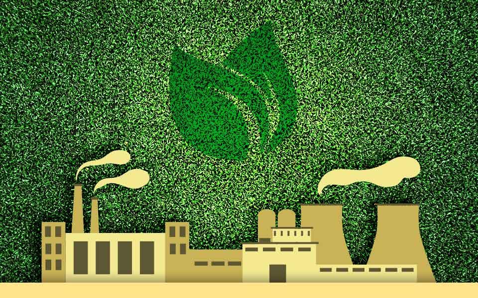 Fabrik mit grünem Pixel-Hintergrund und zwei Blättern