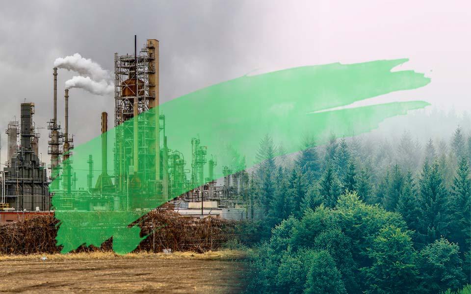 Fotomontage: links Fabrik, rechts Wald, mit großem grünen Pinselstrich durchs Bild