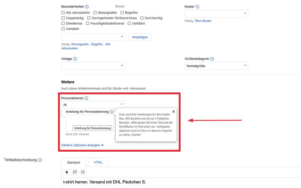 eBay-Backend-Ansicht: Aktivierung der Personalisierung