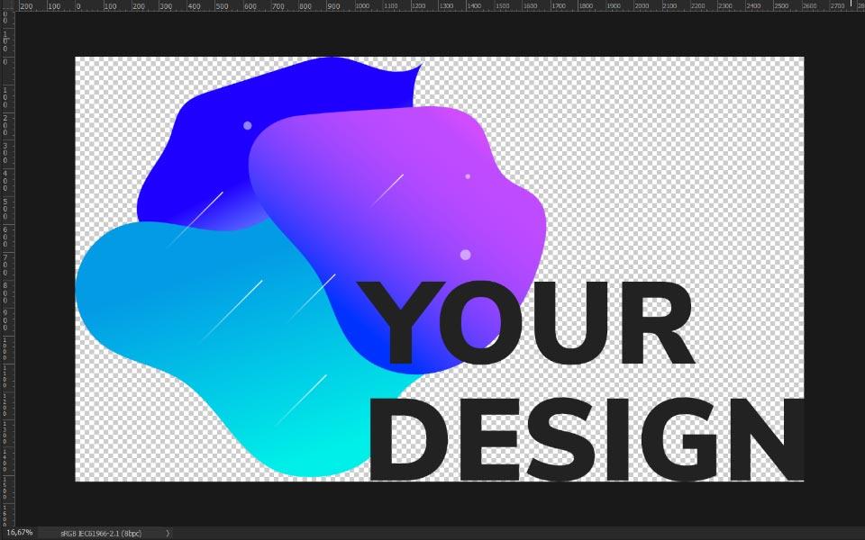 """Freigestelltes Druckmotiv """"Your Design"""" in Photoshop"""
