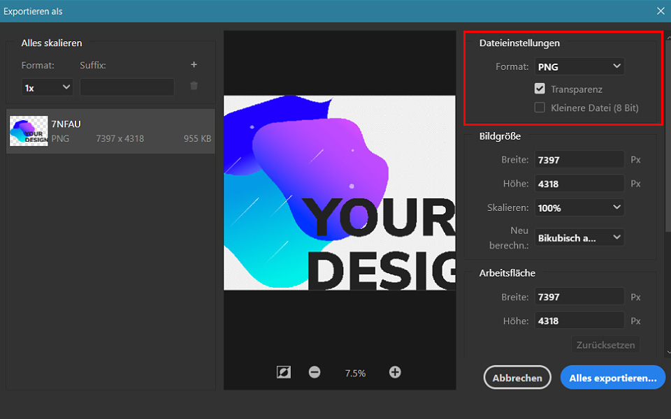PNG-Export in Photoshop