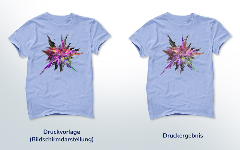 2 Shirts im Vergleich: Druckvorlage und Druckergebnis