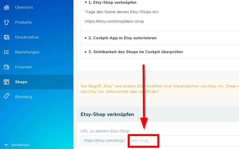 Cockpit-Dashboard: Etsy-Shop verknüpfen