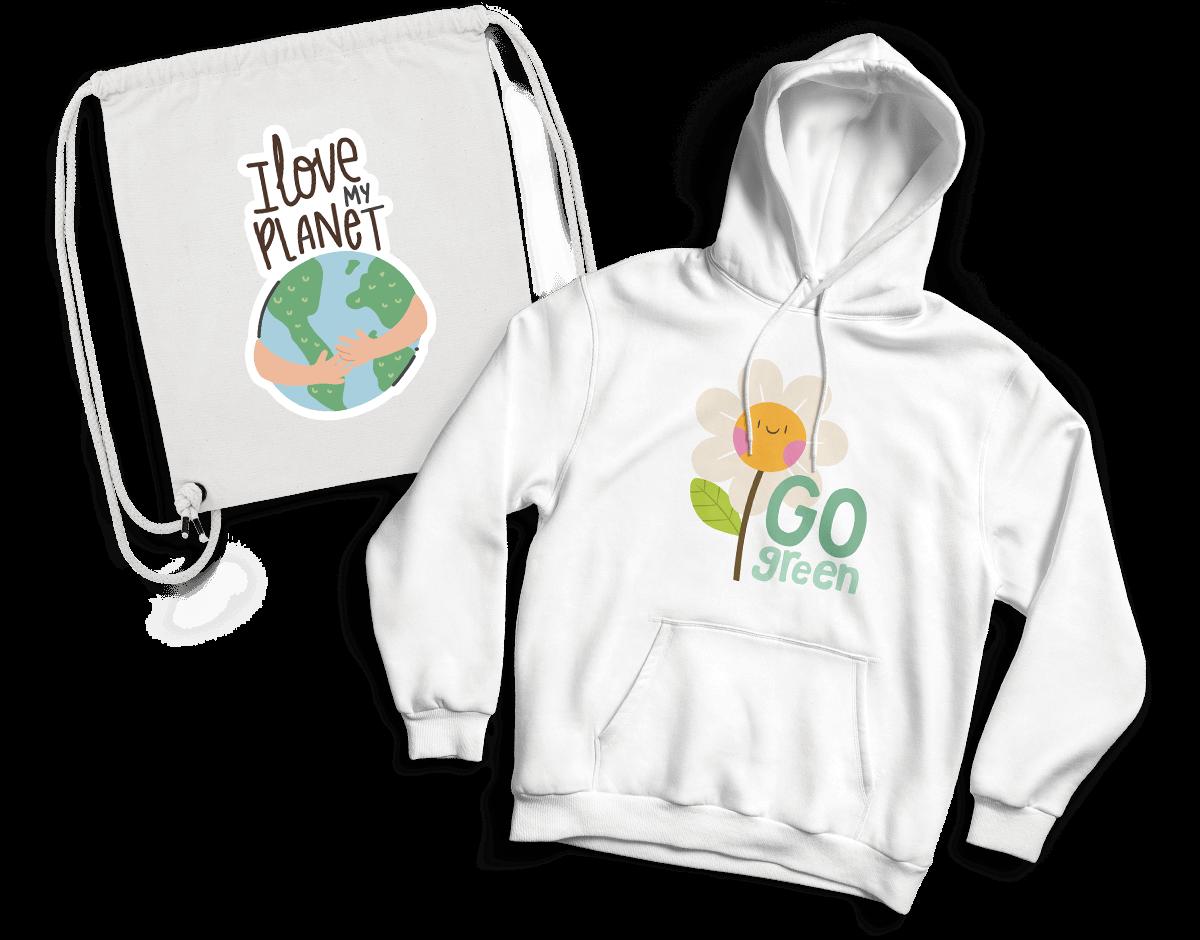 Nachhaltig bedruckte Organic-Produkte