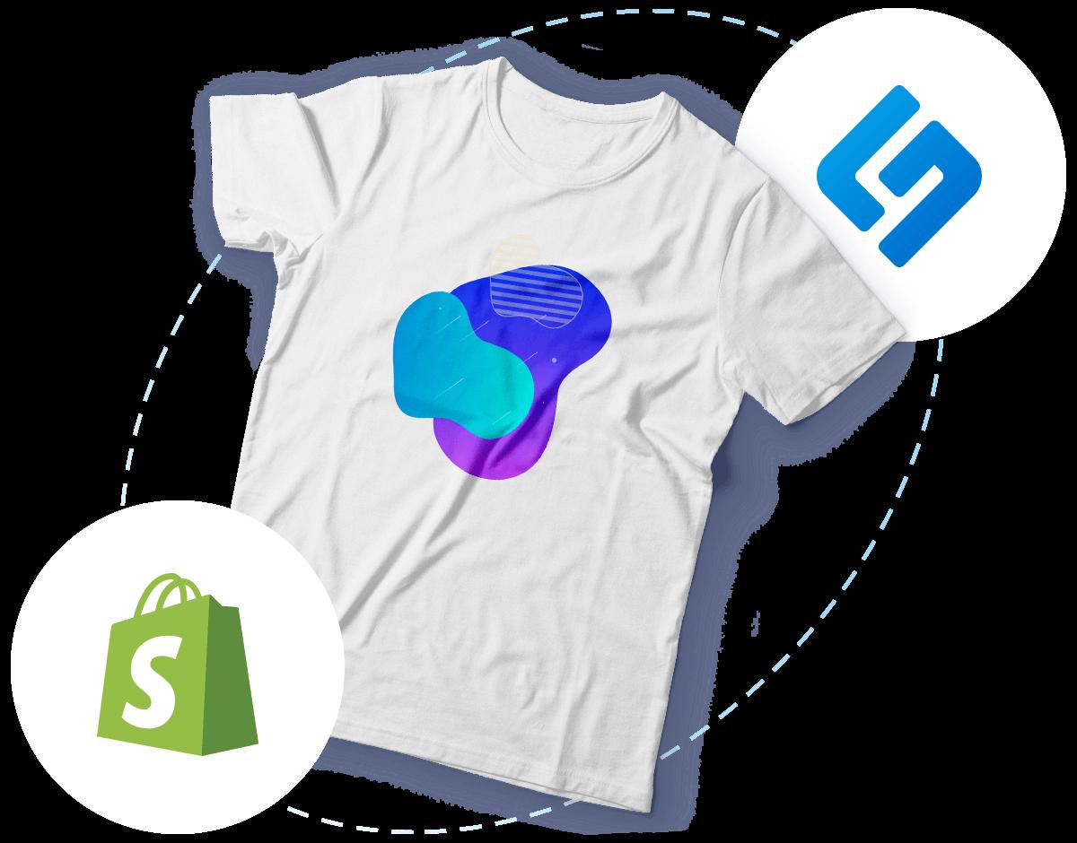 Bedrucktes T-Shirt und schwebende Shopify- & Shirtigo-Logos