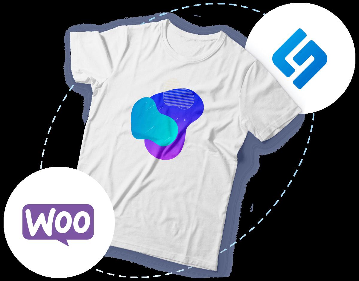 Bedrucktes T-Shirt und schwebende WooCommerce- & Shirtigo-Logos