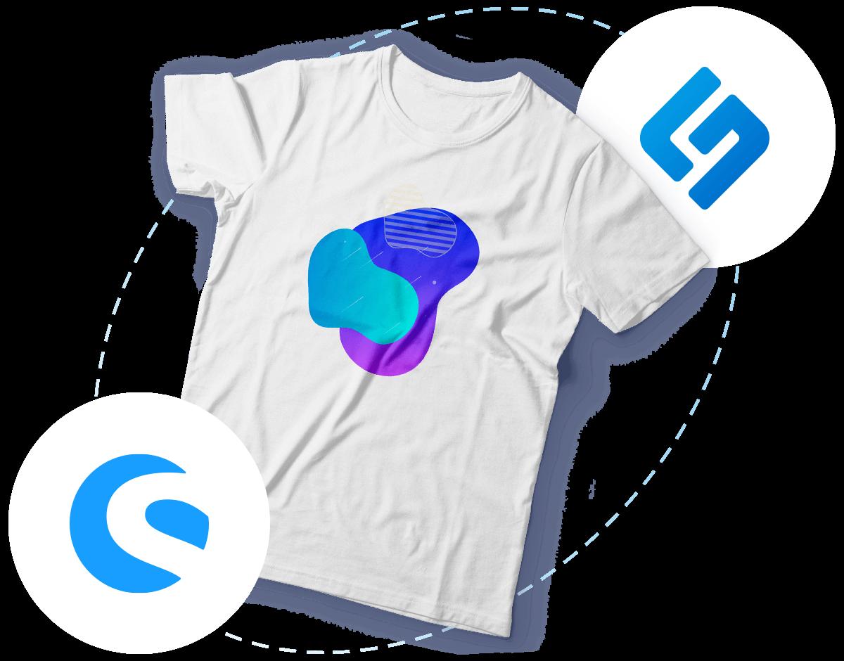 Bedrucktes T-Shirt und schwebende Shopware- & Shirtigo-Logos