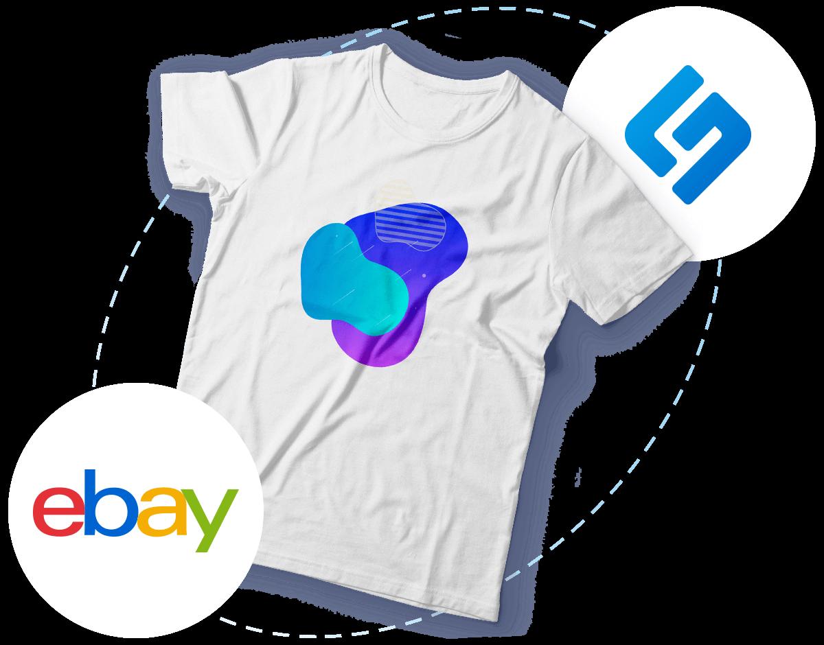 Bedrucktes T-Shirt und schwebende Shopware- & eBay-Logos
