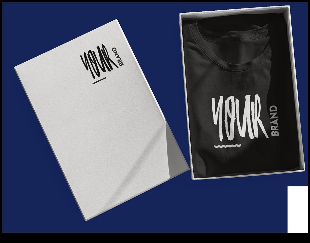 """Verpackungsbox und T-Shirt mit jeweiligem """"Your Brand""""-Aufdruck"""