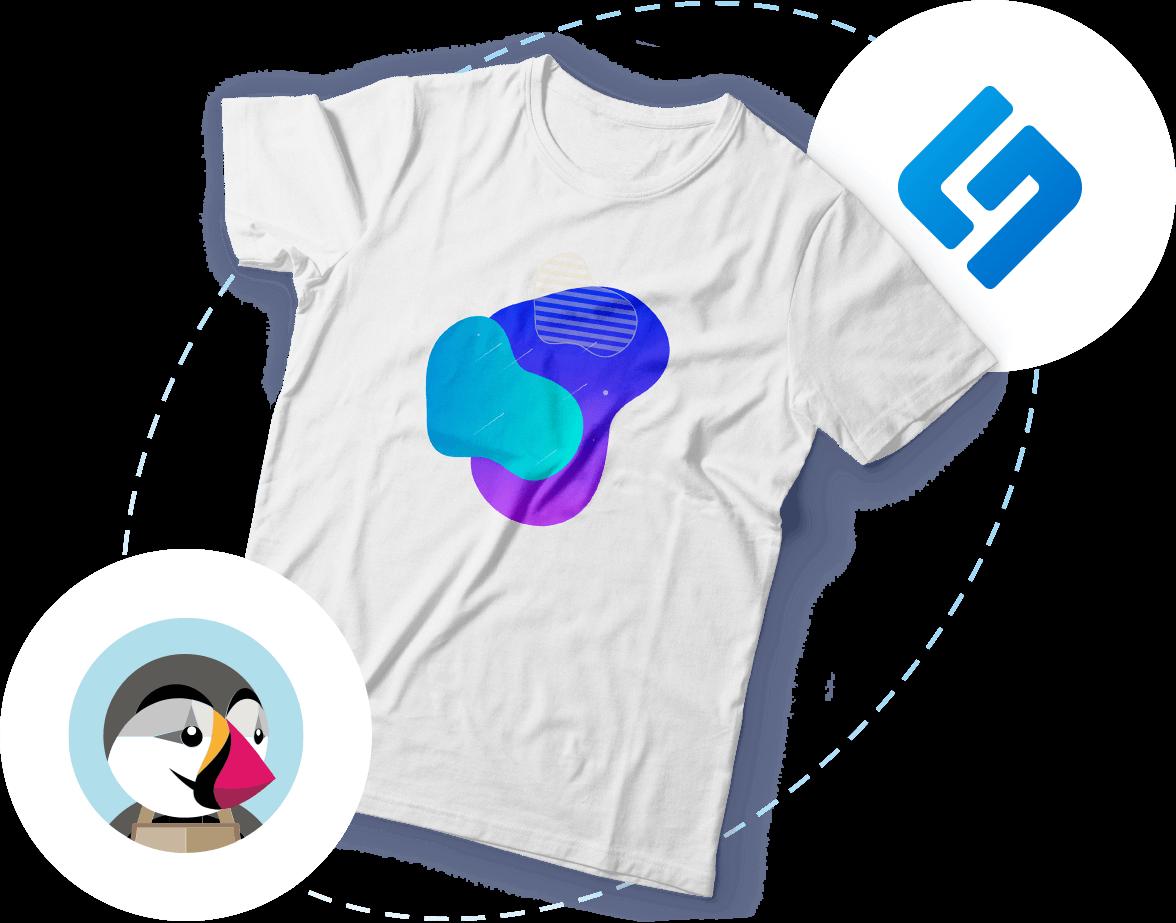 Bedrucktes T-Shirt und schwebende PrestaShop- & Shirtigo-Logos
