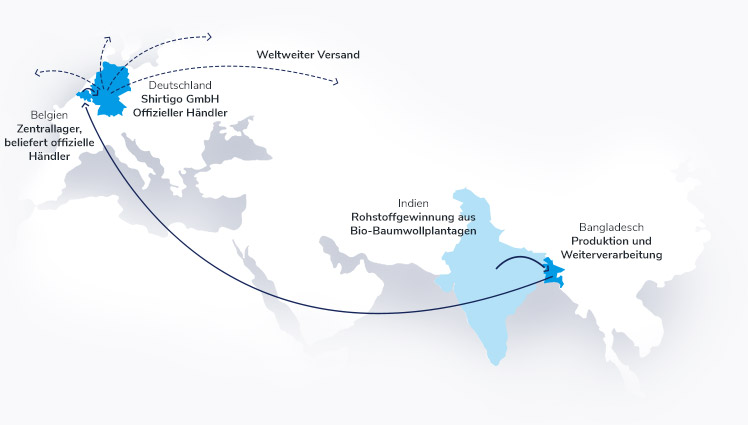 Visualisierung der globalen Lieferkette auf einer Weltkarte