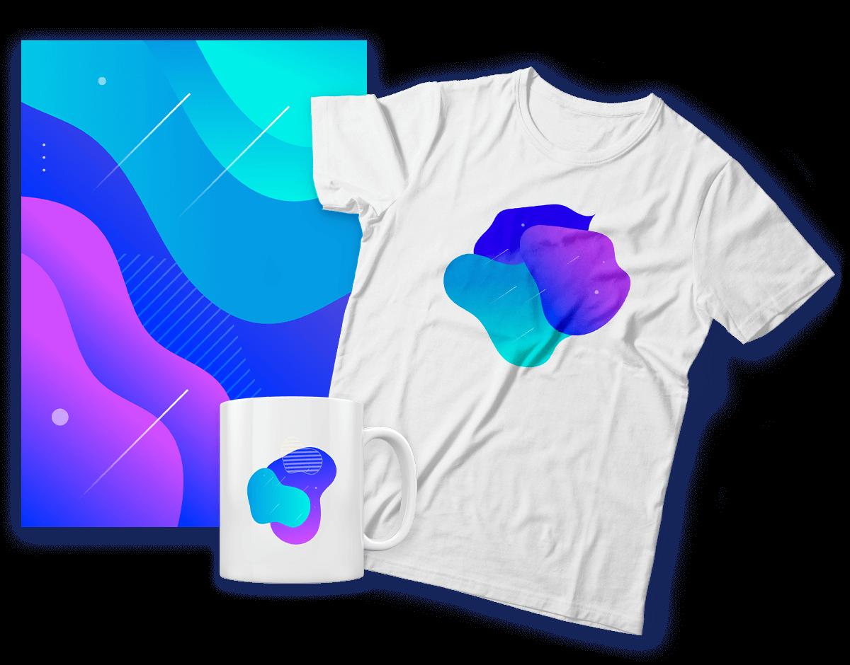 Print-Produkt-Beispiele: Poster, T-Shirt & Tasse