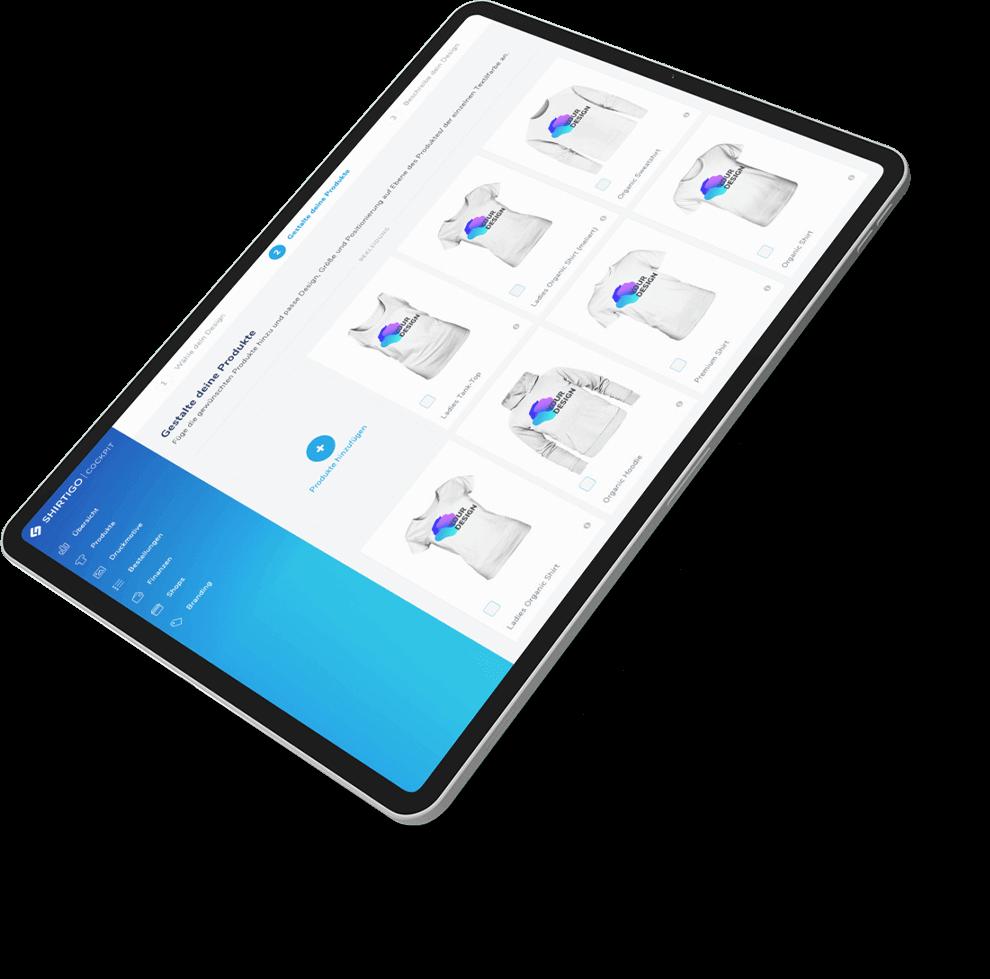 Tablet-Computer mit Screenshot von Shirtigo Produkten