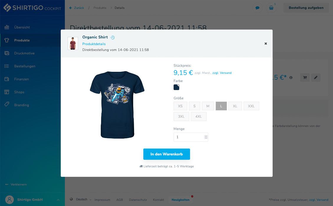 Bildschirmaufnahme des Ein-Klick-Bestellvorgangs