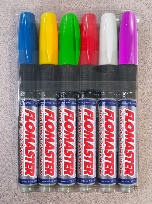 Flomaster® FM-43 Auto Body and Glass Marker 6-Pack Regular