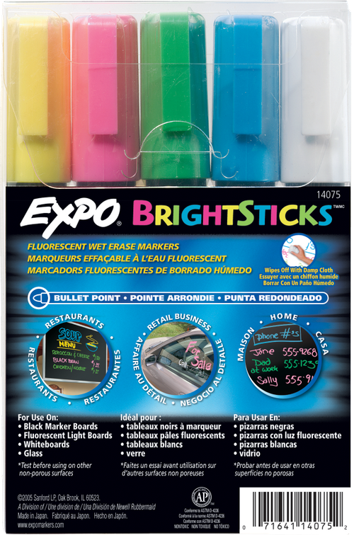 Expo® BrightSticks Wet Erase Fluorescent 5-Pack