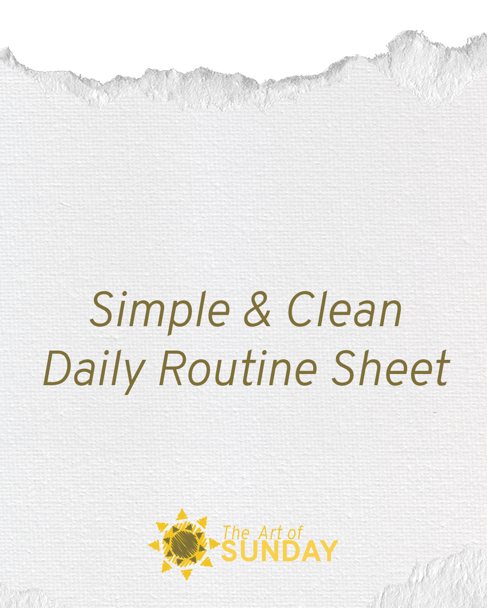 Simple & Clean Daily Routine Sheet