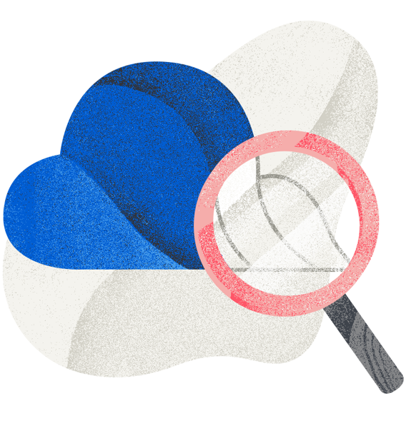 cloud with magnifying glass looking for aws savings