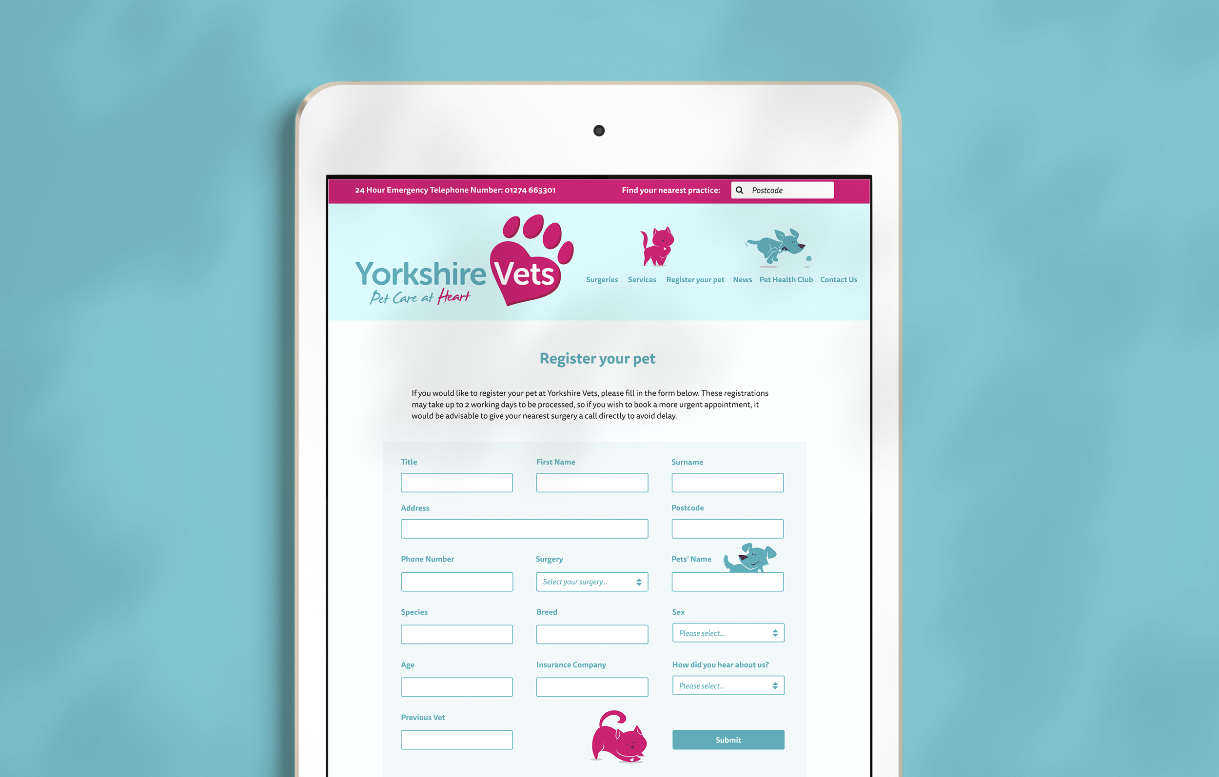 Example of Yorkshire Vets' website designed and developed by Talking Horse