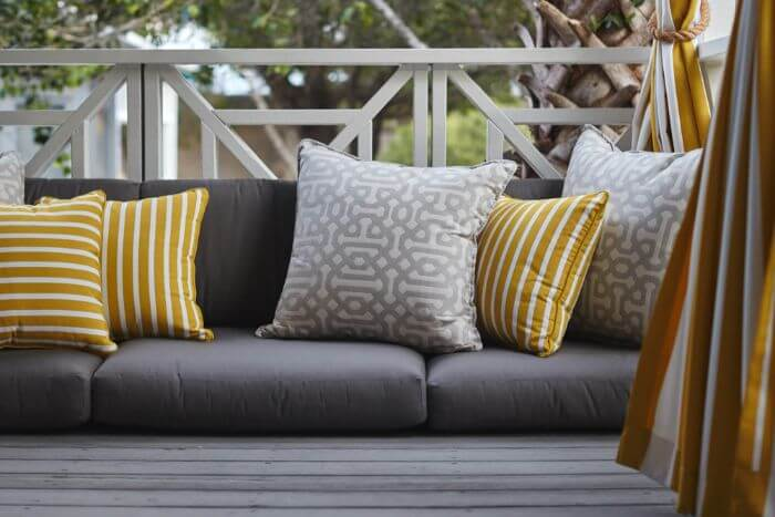 Outdoor scatter cushions made by Wind Co Canvas.