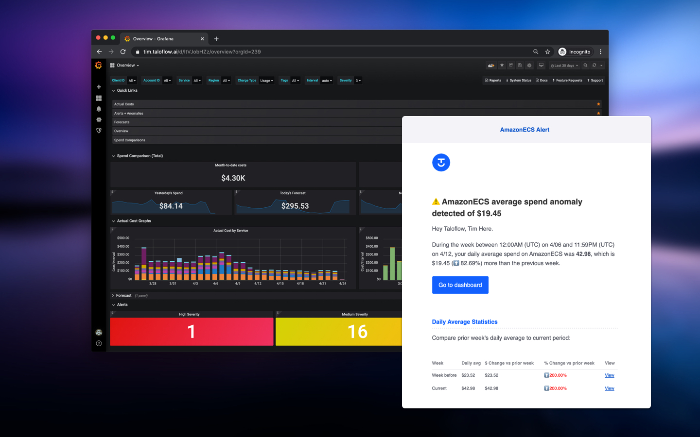 UI sections, advanced filters and cost trends