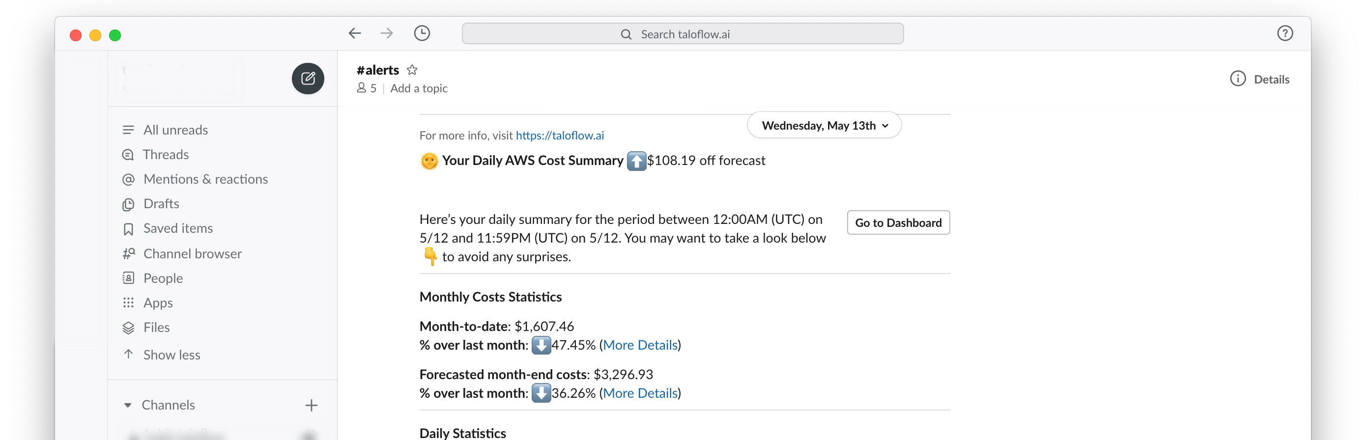 Taloflow Tim Daily AWS Cost Summary on Slack