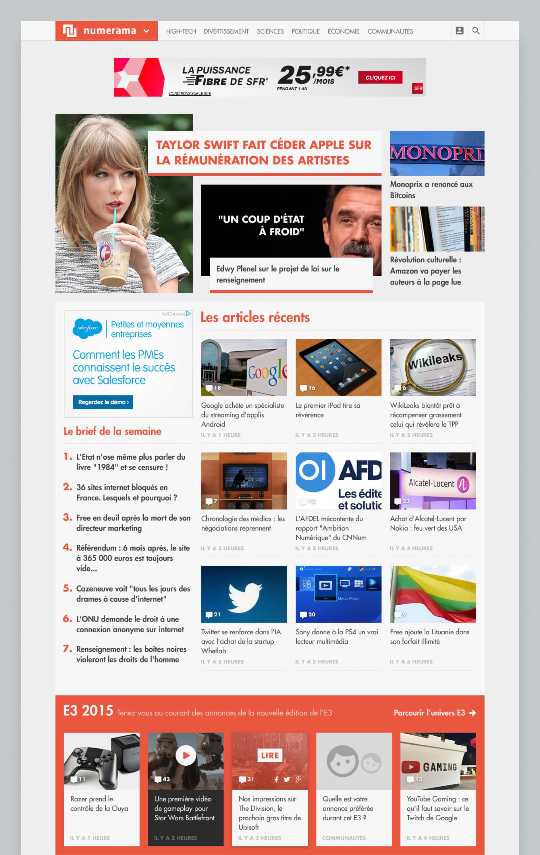 Homepage of Numerama